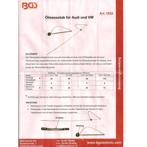BGS Öl-Messstab für Audi und VW mit Ölstandsanzeige im Display