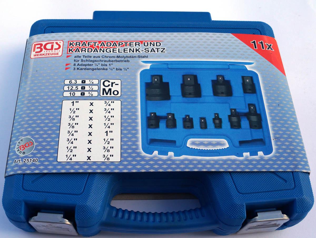 6,3 25140 1//4 BGS Kraft-Adapter- und Kardangelenksatz 1 11-tlg - 25